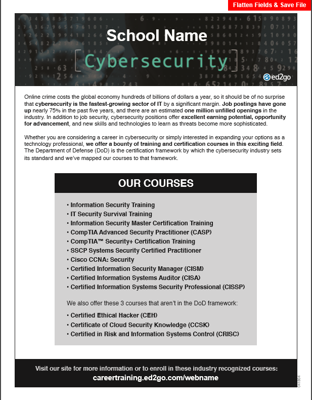 Flyer All Cyber Security Courses Mapped To Dod Framework